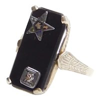 Art Deco Eastern Star Onyx and Diamond Ring 14k White Gold