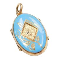 Victorian Mourning Locket Pendant Gold Filled with Blue Enamel