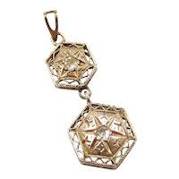 Edwardian Geometric Diamond Pendant 10k Gold