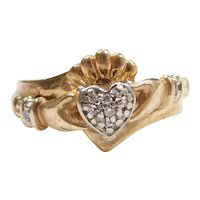 .05 ctw Diamond Claddagh Ring 10k Gold ~ Love, Loyalty and Friendship
