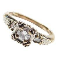 .32 ctw Diamond Engagement Ring 14k White and Yellow Gold ~ Illusion Setting