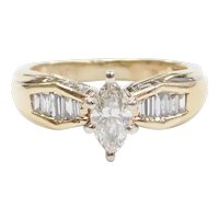 .90 ctw Marquise Diamond Engagement Ring 14k Gold with Greek Key Design