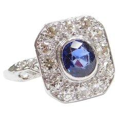 Edwardian Platinum 1.19 ctw Sapphire and Diamond Halo Ring