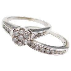 .86 ctw Diamond Engagement Ring and Wedding Band Set 10k White Gold ~ Illusion / Cluster