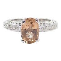 2.04 ctw Cinnamon Peach Tourmaline and Diamond Engagement Ring 14k White Gold