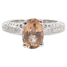 2.04 ctw Cinnamon Peach Tourmaline and Diamond Engagement Ring 14k White Gold