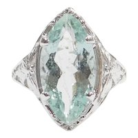 3.19 Carat Seafoam Green Blue Natural Aquamarine 14k White Gold Art Deco Ring ~ Butterfly