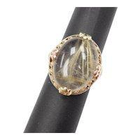 Edwardian Rutilated Quartz Ring 10k Gold Floral Setting