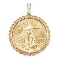 1986 1 Oz Fine Gold 50 Dollars American Gold Eagle Coin Pendant With 14k Gold Rope Bezel and Diamonds