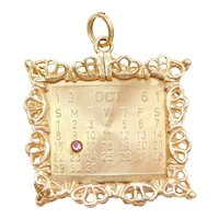 14k Gold October 16th Birthday Calendar Charm