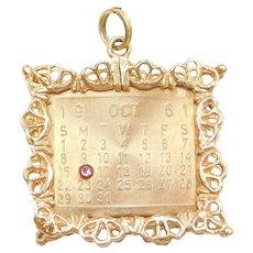 14k Gold October 16th Birthday Calendar Charm