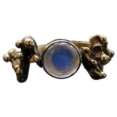 14k Gold Blue Flash Moonstone Ring