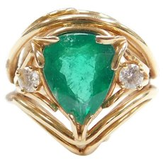 4.83 ctw Natural Emerald and Diamond Cocktail Ring 14k Gold