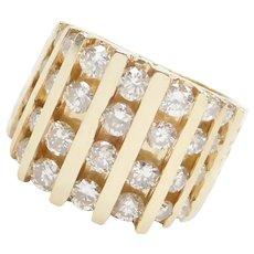 Wide Vintage 14k Gold 3.00 ctw Diamond Ring ~ Men's / Gents