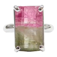 7.13 Carat Watermelon Tourmaline 14k White Gold Solitaire Ring
