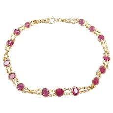"""7 1/4"""" 14k Gold 2.90 ctw Natural Ruby Bracelet"""