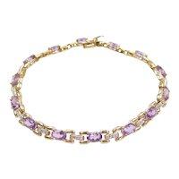 "7 1/2"" 5.37 ctw Amethyst and Diamond Bracelet 14k Gold"