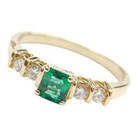 .51 ctw Natural Emerald and Diamond Ring 18k Gold