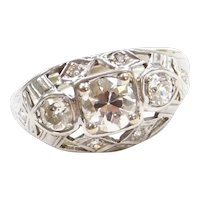 .78 ctw Diamond Art Deco Ring 14k White Gold