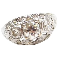 .78 ctw Diamond Art Deco Ring 14k White Gold