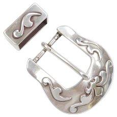 Sterling Silver Belt Buckle and Loop