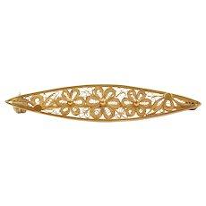 18k Gold Filigree Flower Bar Pin / Brooch