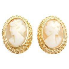 18k Gold Cameo Clip On Earrings