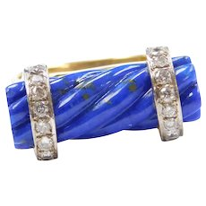 18k Gold Carved Twisted Lapis Lazuli Bar Ring with Diamonds