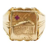 18k Gold Men's Greek Parthenon Ring with Ruby Accent