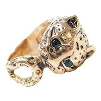18k Gold Jaguar / Panther Ring with Faux Emeralds