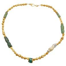 "16"" 22k Gold Carved Jade & Jasper Bunny / Rabbit Necklace"