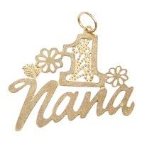 14k Gold #1 Nana Flower Charm