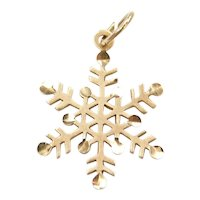 14k Gold Diamond Cut Snowflake Charm