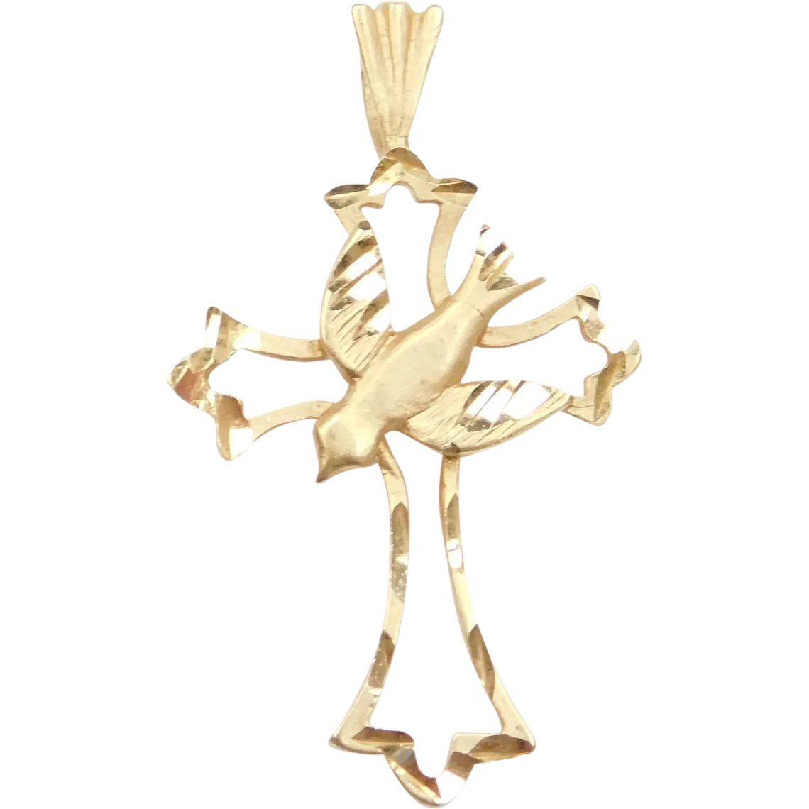 14k Yellow Gold Religious Cross with Holy Spirit Dove Pendant