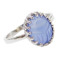 14k White Gold Lavender Chalcedony Carved Scarab Ring