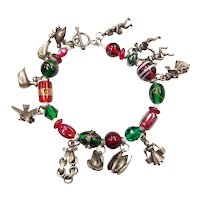 The 12 Days of Christmas Charm Bracelet Sterling Silver and Glass Beads
