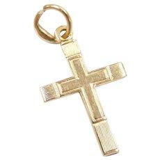 Tiny Cross Charm 14K Gold