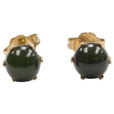 1950's 14k Gold Jade Stud Earrings