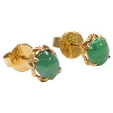 14k Gold .42 ctw Natural Emerald Stud Earrings