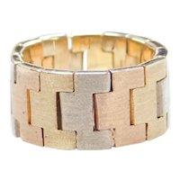14k Gold Wide Tri-Color Flex Ring