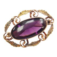 Edwardian Purple Paste Leaf Pin / Brooch with Swirl Design 10k