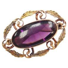 Edwardian Purple Paste Leaf Pin / Brooch with Swirl Design 10k