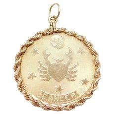 14k Gold BIG Cancer Zodiac Charm