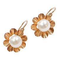 Edwardian 14k Rose Gold Cultured Pearl Earrings