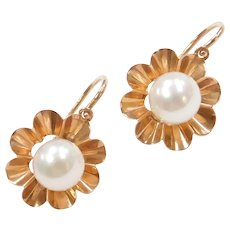 Edwardian 14k Rose Gold Cultured Pearl Earrings