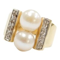 Retro 14k Gold Two-Tone Cultured Pearl and Diamond Ring