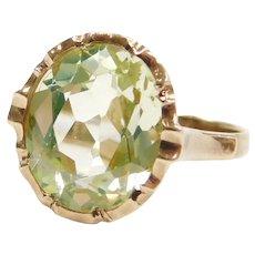 Edwardian 4.00 Carat Bright Green Spinel Ring 14k Gold