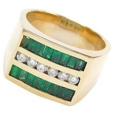 Big Men's 1.64 ctw Natural Emerald and Diamond Ring