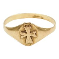 14k Gold Cross Ring