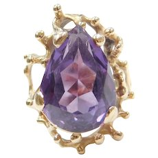 Color Changing Created Alexandrite Ring 14k Gold Modernist